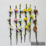 Веточка с цветочками, 13 см, 3 цветочка, 8 почек, 1 шт. - ScrapUA.com