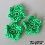 Вязаный цветочек ручной работы, цвет зеленый, 2,5 см, 1шт. - ScrapUA.com
