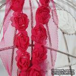 Лента с розочками, цвет: малиновый, ширина 18 мм, 30 см - ScrapUA.com