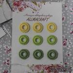 Декоративные вязаные колечки - в наборе от Allmacraft, желтый, зеленый, оливковый, 9 шт. - ScrapUA.com