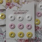 Декоративные вязаные колечки - в наборе от Allmacraft, белый, розовый, желтый, 9 шт. - ScrapUA.com