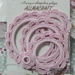 Набор вязанных рамочек  для фотографий от Allmacraft, круглые, цвет розовый, 4 шт. - ScrapUA.com