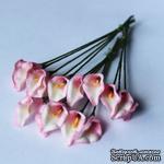 Каллы бело-розовые, цветок 15х20мм, стебель 8 см, 5 шт. - ScrapUA.com
