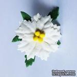 Пуансеттия белая,  маленькая, диаметр 30 мм, 1 шт. - ScrapUA.com