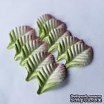 Листики,  3 тона - белый, розовый, светло-зеленый, 30х18 мм, 10 шт. - ScrapUA.com