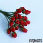 Бутончики розочек, диаметр бутончика 4 мм, цвет красный,  20 шт. - ScrapUA.com