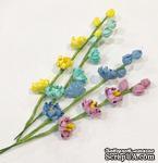 Веточка с цветочками, 13,5 см, 3 цветочка, 3 бутона, 1 шт. - ScrapUA.com