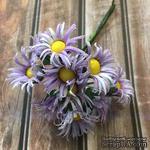 Хризантемы, бело-сиреневые, диаметр 20-25мм, стебелек 10 см, 10 шт. - ScrapUA.com