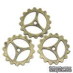 Металлическая шестеренка, цвет античная бронза, диаметр 23 мм, 1 шт. - ScrapUA.com