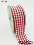 Лента от May Arts - Solid Checkered Ribbon, цвет красный, 4 см, 90 см. - ScrapUA.com
