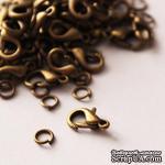 Карабин c колечком, цвет античное золото, 1 см, 2 детали - ScrapUA.com