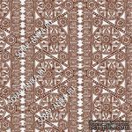 Скрапбумага для форзацев Коллекция 14_16., Кружево с кругами коричневое на белом, односторонняя, 20х29 см - ScrapUA.com