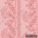 Скрапбумага для форзацев Коллекция 14_2., Растительный узор с кружевом розовый на розовом, односторонняя, 20х29 см - ScrapUA.com