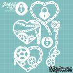 Чипборд от Вензелик - Набор сердец стимпанк, размер: 9,7 x 14,5 см - ScrapUA.com