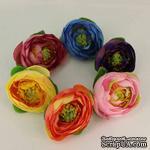 Тканевый цветок пиона, 4 см, цвет на выбор: желтый, бордовый, оранжевый, розовый, голубый, фиолетовый - ScrapUA.com