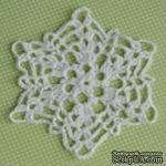 Вязаная салфетка ручной работы, цвет белый, диаметр 11,5см  - ScrapUA.com