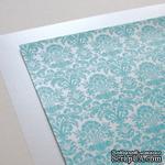 Лист дизайнерской бумаги с рисунком Роскошно 2, цвет Тиффани, А4 - ScrapUA.com