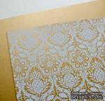 Лист дизайнерской бумаги с рисунком Роскошно 1, цвет Античное золото, А4 - ScrapUA.com