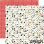 Лист двусторонней скрапбумаги Alphabet, Paper & Glue, Echo Park, 30х30 см - ScrapUA.com