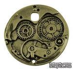 """Металлическое украшение """"Часовой механизм"""", античная бронза, размер 38х38 мм, 1 шт - ScrapUA.com"""