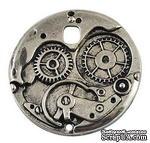 """Металлическое украшение """"Часовой механизм"""", античное серебро, размер 38х38 мм, 1 шт - ScrapUA.com"""