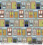 Лист бумаги для скрапбукинга  от Polkadot  -  Двери, коллекция На чемоданах, 30х30 см, плотность 190 гр\м2 - ScrapUA.com