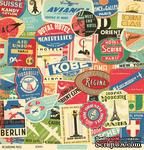 """Лист двусторонней скрапбумаги от October Afternoon - """"Boarding Pass"""" Collection - Tokyo, 30х30 - ScrapUA.com"""