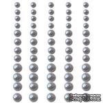 Половинки жемчужин на клеевой основе Queen & Co -Pearls Silver, 60 штук - ScrapUA.com