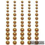 Половинки жемчужин на клеевой основе Queen & Co -Pearls Yellow Sunshine, 60 штук - ScrapUA.com