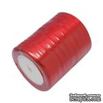 Ленточка атласная  Red, 10мм, цвет красный, 90 см - ScrapUA.com