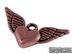 """Металлическое украшение """"Сердце"""", красная медь, размер 13х25 мм, 1 шт - ScrapUA.com"""