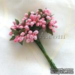 Веточки с маленькаими ягодками, цвет розовый, 1 пучок из 12 штук - ScrapUA.com