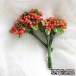 Веточки декоративные с ягодками, цвет оранжевый, 1 пучок из 10 штук - ScrapUA.com