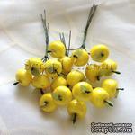 Яблочки маленькие, цвет желтый, 6 штук - ScrapUA.com