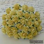 Открытые розочки, цвет желтый, диаметр - 10мм, 10 шт. - ScrapUA.com
