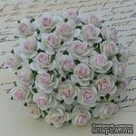 Открытые розочки, цвет белый с нежно-розовой серединкой, диаметр - 10мм, 10 шт. - ScrapUA.com