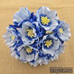 Набор лотусов, бело-голубой, 35 мм, 5 шт. - ScrapUA.com