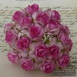 Дикая роза, цвет глубокий розовый с белым, 3 см., 1 шт - ScrapUA.com