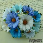 Ромашки, микс цветов (голубой, бирюза, белый), 45мм, 5 шт. - ScrapUA.com