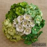 Набор цветочков  Sweetheart, микс зеленых и белых оттенков, 15мм, 100 шт. - ScrapUA.com