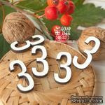Деревянные фишки  - Набор цифр 3 (5шт) Fl-021 - ScrapUA.com
