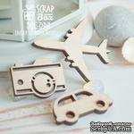 Деревянные фишки ScrapBox - Набор дорожный с самолетом (3шт) Wfo-046 - ScrapUA.com