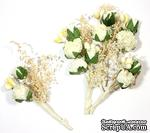 Декоративный букетик с розами, цвет белый, 4 см, 6 шт. - ScrapUA.com