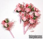 Декоративный букетик с розами, цвет розовый, 4 см, 6 шт. - ScrapUA.com
