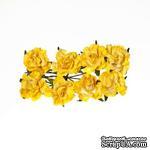 Розочки кудрявые, из бумаги, нежно-желтые, 30 мм, 8 шт. - ScrapUA.com