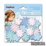 Набор принтованных бумажных цветочков от Scrapberry's - Волшебная страна - Голубые цветы, 24 шт - ScrapUA.com