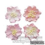 Гардении, набор цветов из шелковичной бумаги 4 шт., диаметр 5см - ScrapUA.com