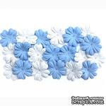 Набор цветов из шелковичной бумаги, 2 цвета 20 шт., 28мм, цвет голубой и белый - ScrapUA.com