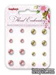 Набор брадсов от Scrapberry's - Хрусталь - Цветочная вышивка, 16 шт - ScrapUA.com