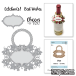 Ножи для вырубки + штампы от Spellbinders - Vineyard Wine Bottle Tag Stamp and Die Set. - ScrapUA.com